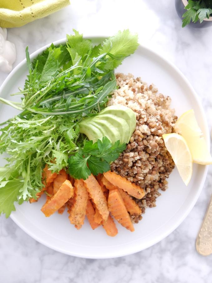 Quinoa, lentejas verdes, mostaza y boniato