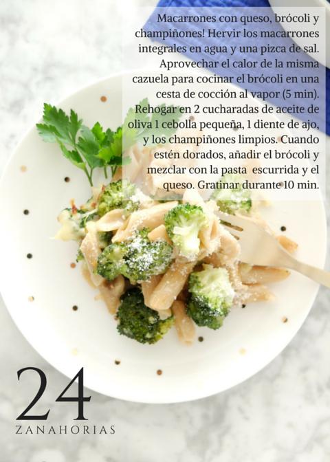 Macarrones con brócoli y champiñones